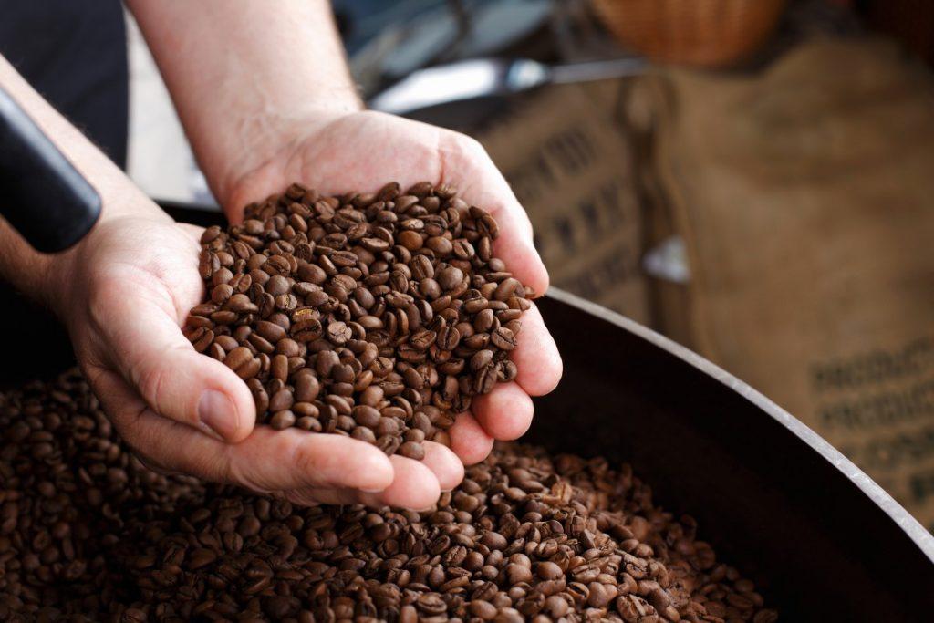 Person tager viser en håndfuld kaffebønner